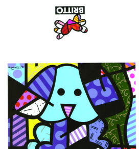 postais romero britto BLUE DOG